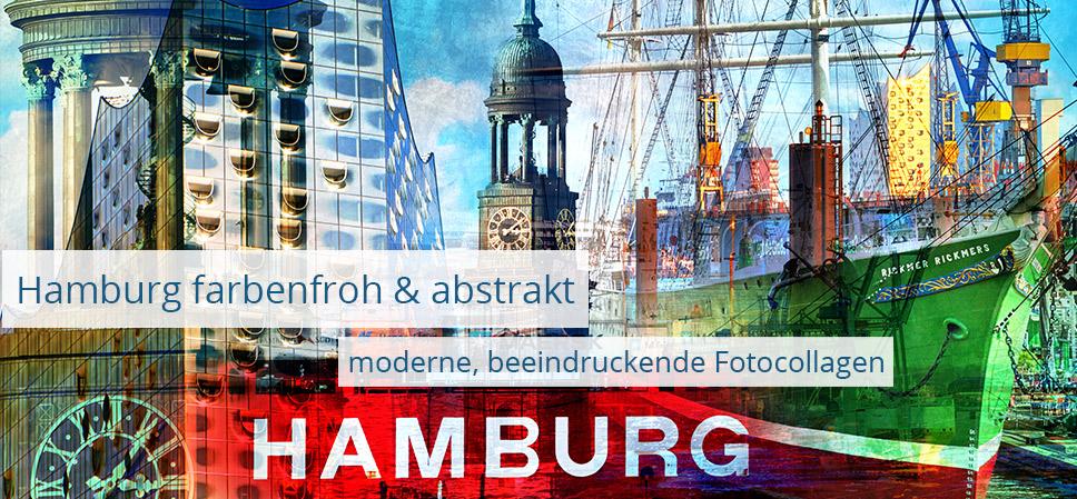 Abstrakte Hamburg Collage - farbenfrohe Popart Bilder, auf Leinwand, Acrylglas und mehr