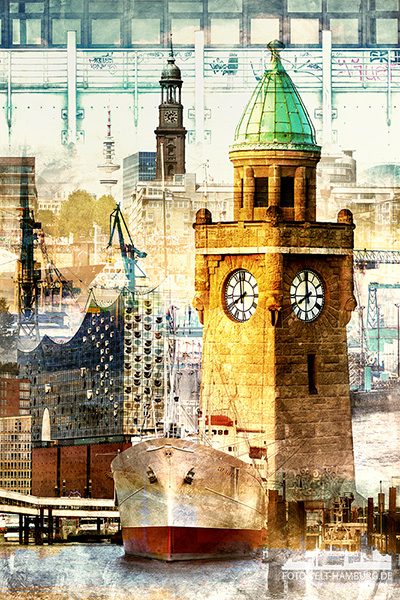 Moderne Hamburg Pop-Art Collage - Bild auf Leinwand