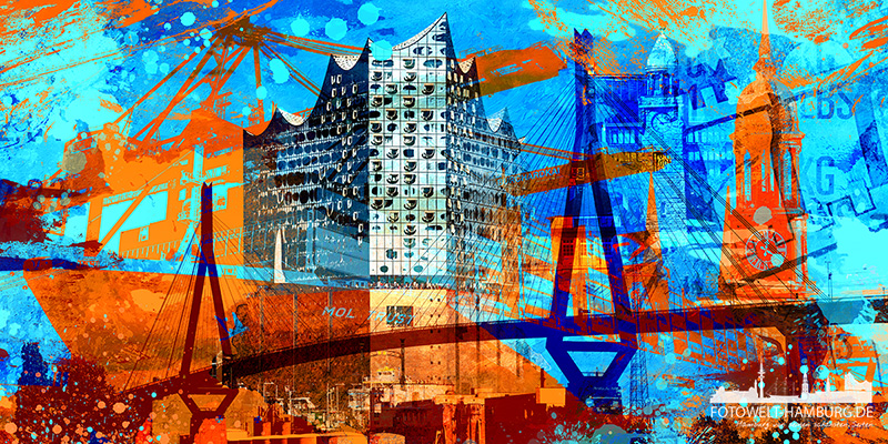 Hamburg Collage 037, moderne Hamburg Fotocollage im Pop-Art Look - Bild auf Leinwand oder Acrylglas