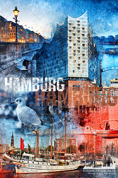 Hamburg abstrakte Pop-Art Collage - Bild auf Leinwand