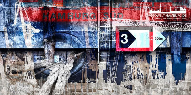 Hamburg Collage abstrakt auf Leinwand - Hamburger Hafen abstrakt